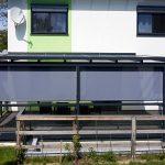 SAP Metallbau Ariane Terrassendach mit Senkrechtmarkise Ansicht 3x4